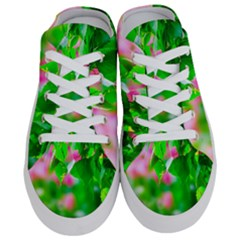 Green Birch Leaves, Pink Flowers Half Slippers by FunnyCow