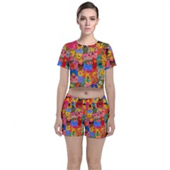 Coloful Strokes Canvas                              Crop Top And Shorts Co Ord Set by LalyLauraFLM