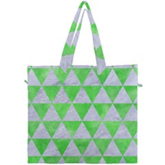 Triangle3 White Marble & Green Watercolor Canvas Travel Bag by trendistuff