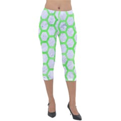 Hexagon2 White Marble & Green Watercolor (r) Lightweight Velour Capri Leggings  by trendistuff
