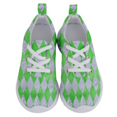 Diamond1 White Marble & Green Watercolor Running Shoes by trendistuff