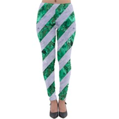 Stripes3 White Marble & Green Marble (r) Lightweight Velour Leggings by trendistuff