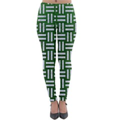 Woven1 White Marble & Green Leather Lightweight Velour Leggings by trendistuff