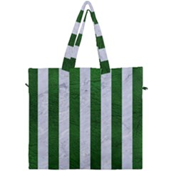 Stripes1 White Marble & Green Leather Canvas Travel Bag by trendistuff