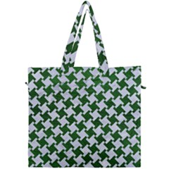 Houndstooth2 White Marble & Green Leather Canvas Travel Bag by trendistuff