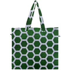 Hexagon2 White Marble & Green Leather Canvas Travel Bag by trendistuff