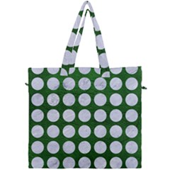 Circles1 White Marble & Green Leather Canvas Travel Bag by trendistuff