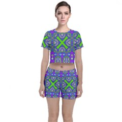 Purple Green Shapes                                  Crop Top And Shorts Co Ord Set by LalyLauraFLM