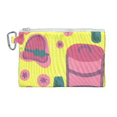 Candy Pink Hat Canvas Cosmetic Bag (large) by snowwhitegirl