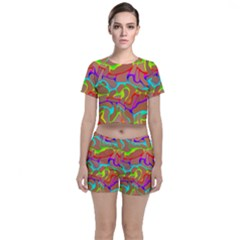 Colorful Wavy Shapes                                      Crop Top And Shorts Co Ord Set by LalyLauraFLM