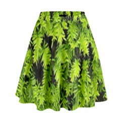 Green Hedge Texture Yew Plant Bush Leaf High Waist Skirt by Sapixe