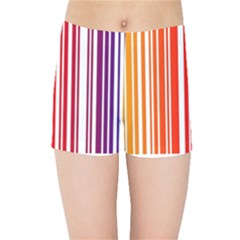 Colorful Gradient Barcode Kids Sports Shorts by Samandel