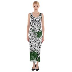 Montains Hills Green Forests Fitted Maxi Dress