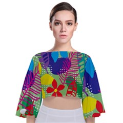 Decoration Decor Pattern Tie Back Butterfly Sleeve Chiffon Top by Simbadda