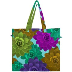 Flowers Stamping Pattern Reason Canvas Travel Bag by Simbadda