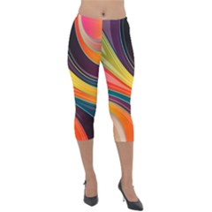 Abstract Colorful Background Wavy Lightweight Velour Capri Leggings  by Simbadda