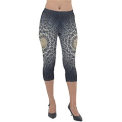 Fractal Mandala Feathers Grey Lightweight Velour Capri Leggings  by Simbadda