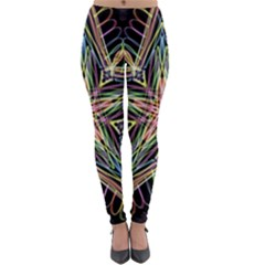 Star Mandala Pattern Design Doodle Lightweight Velour Leggings by Simbadda
