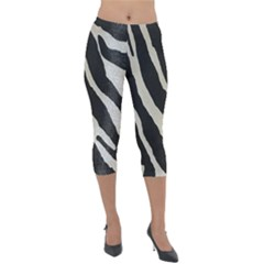 Zebra Print Lightweight Velour Capri Leggings  by NSGLOBALDESIGNS2