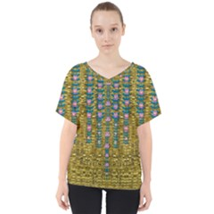 Gold Jungle And Paradise Liana Flowers V Neck Dolman Drape Top by pepitasart