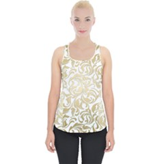 Gold Vintage Rococo Model Patern Piece Up Tank Top by Nexatart