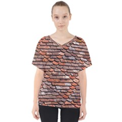 Roof Tiles On A Country House V Neck Dolman Drape Top by Jojostore