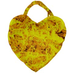 Yellow Abstract Background Giant Heart Shaped Tote