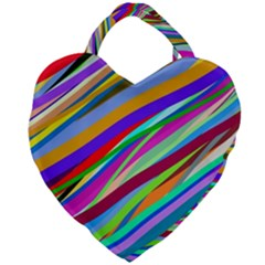 Multi Color Tangled Ribbons Background Wallpaper Giant Heart Shaped Tote