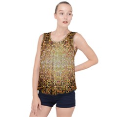 Yellow And Black Stained Glass Effect Bubble Hem Chiffon Tank Top by Jojostore