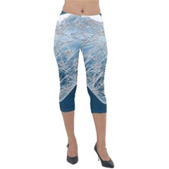 Frozen Heart Lightweight Velour Capri Leggings  by Jojostore