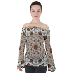 Flower Wreath In The Jungle Wood Forest Off Shoulder Long Sleeve Top