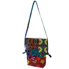 Digitally Created Abstract Patchwork Collage Pattern Folding Shoulder Bag by Jojostore