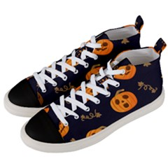 Funny Scary Black Orange Halloween Pumpkins Pattern Men s Mid Top Canvas Sneakers by HalloweenParty
