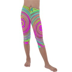 Groovy Abstract Pink, Turquoise And Yellow Swirl Kids  Lightweight Velour Capri Leggings  by myrubiogarden