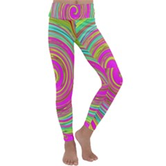 Groovy Abstract Pink, Turquoise And Yellow Swirl Kids  Lightweight Velour Classic Yoga Leggings by myrubiogarden
