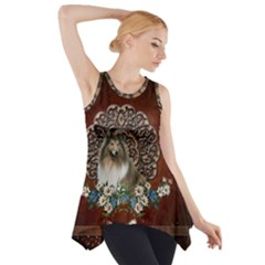 Cute Collie With Flowers On Vintage Background Side Drop Tank Tunic