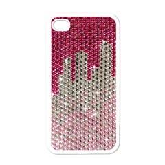 Mauve Gradient Rhinestones  White Apple Iphone 4 Case
