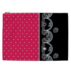 Lace Dots With Black Pink Cosmetic Bag (XXL) by strawberrymilk
