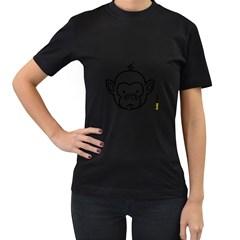 Monkey Black Outline Women s Black T Shirt