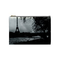 Vintage France Paris Eiffel tour & Seine at dusk 1970 Medium Makeup Purse by Vintagephotos