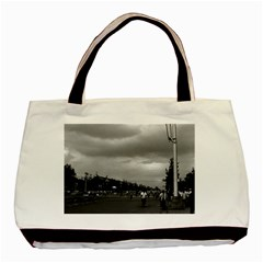 Vintage China Pekin Street Tiananmen Square 1970 Twin Sided Black Tote Bag by Vintagephotos