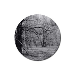 Black And White Forest 4 Pack Rubber Drinks Coaster (round) by Elanga