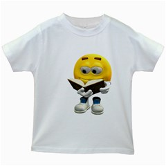 Book Smiley Kids' T Shirt (white) by gatterwe