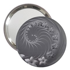 Gray Abstract Flowers 3  Handbag Mirror by BestCustomGiftsForYou