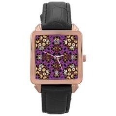 Smoke Art  (11) Rose Gold Leather Watch