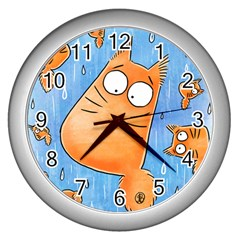 Pookiecat Clock Wall Clock (silver) by PookieCatWorld
