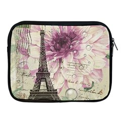 Purple Floral Vintage Paris Eiffel Tower Art Apple Ipad 2/3/4 Zipper Case by chicelegantboutique
