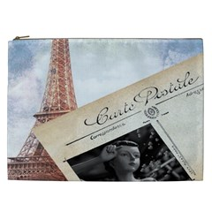 French Postcard Vintage Paris Eiffel Tower Cosmetic Bag (xxl) by chicelegantboutique