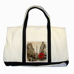 Elegant Red Kiss Love Paris Eiffel Tower Two Toned Tote Bag by chicelegantboutique