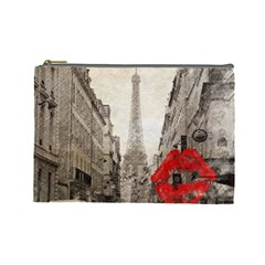 Elegant Red Kiss Love Paris Eiffel Tower Cosmetic Bag (large) by chicelegantboutique